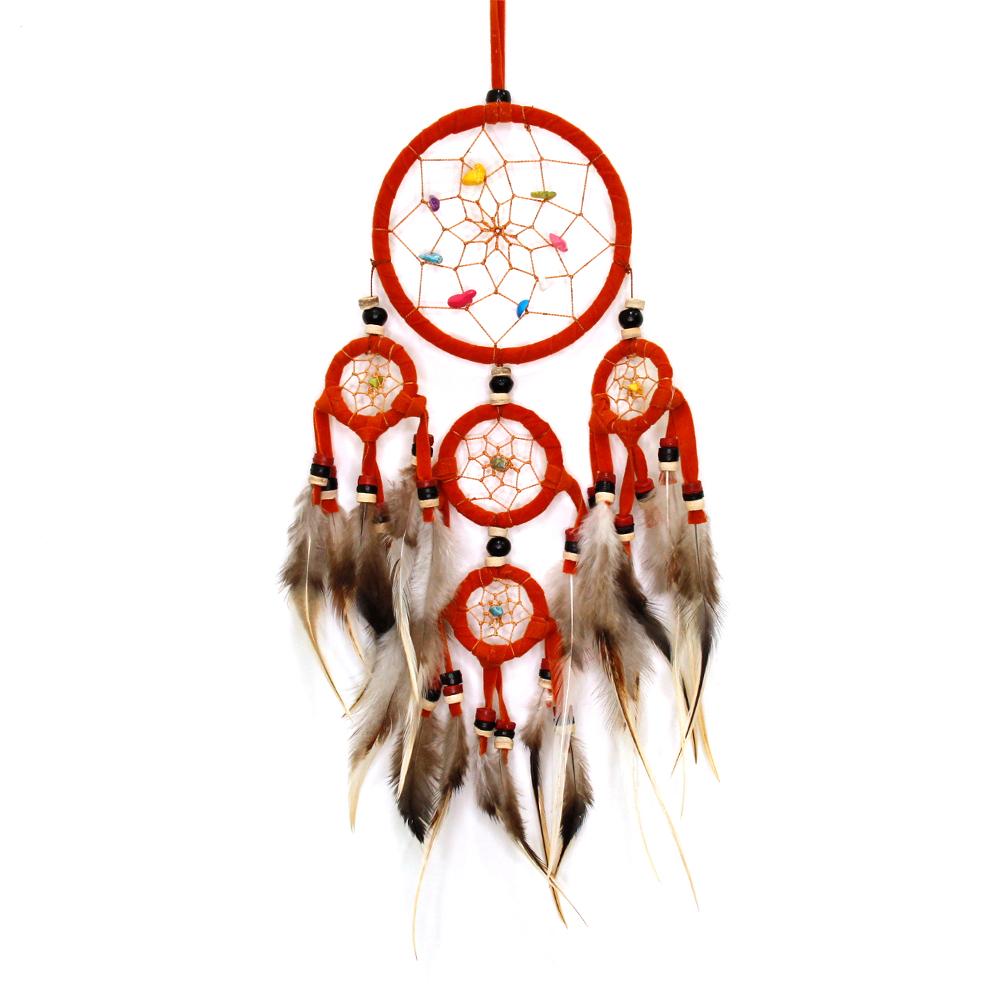 DreamCatcher Feather  Pendant  YELLOW & ORANGE & RED