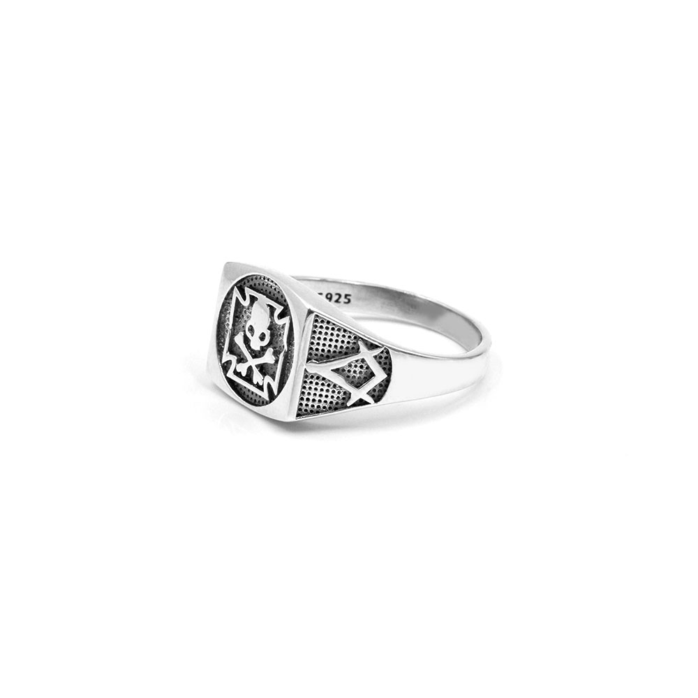 Silver Ring Celtic Cross with Skull