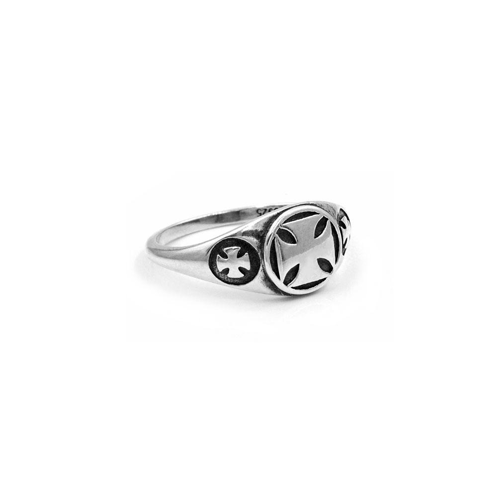 Silver Ring Triple Celtic Cross