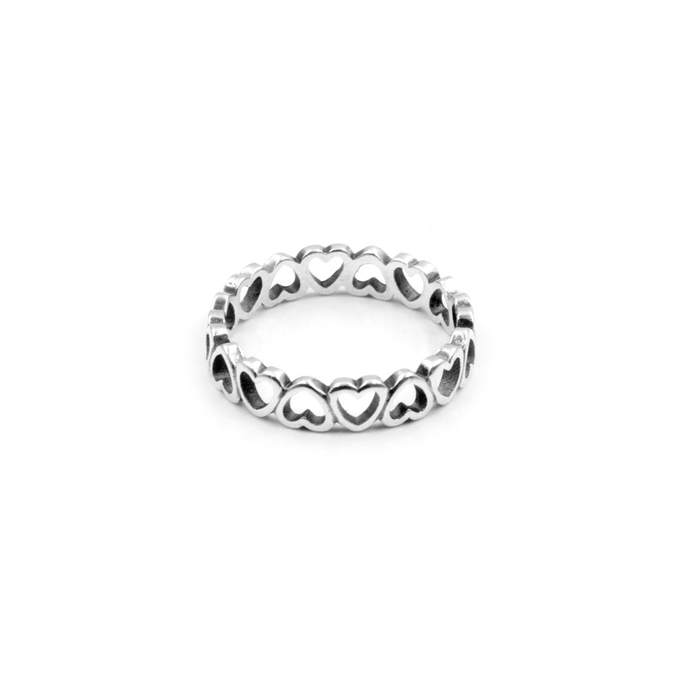 Silver Ring with Hearts Band