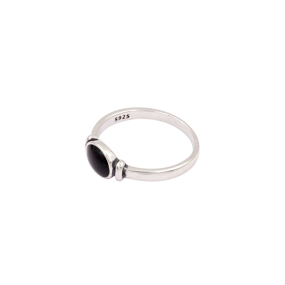 Silver Ring Black Gem