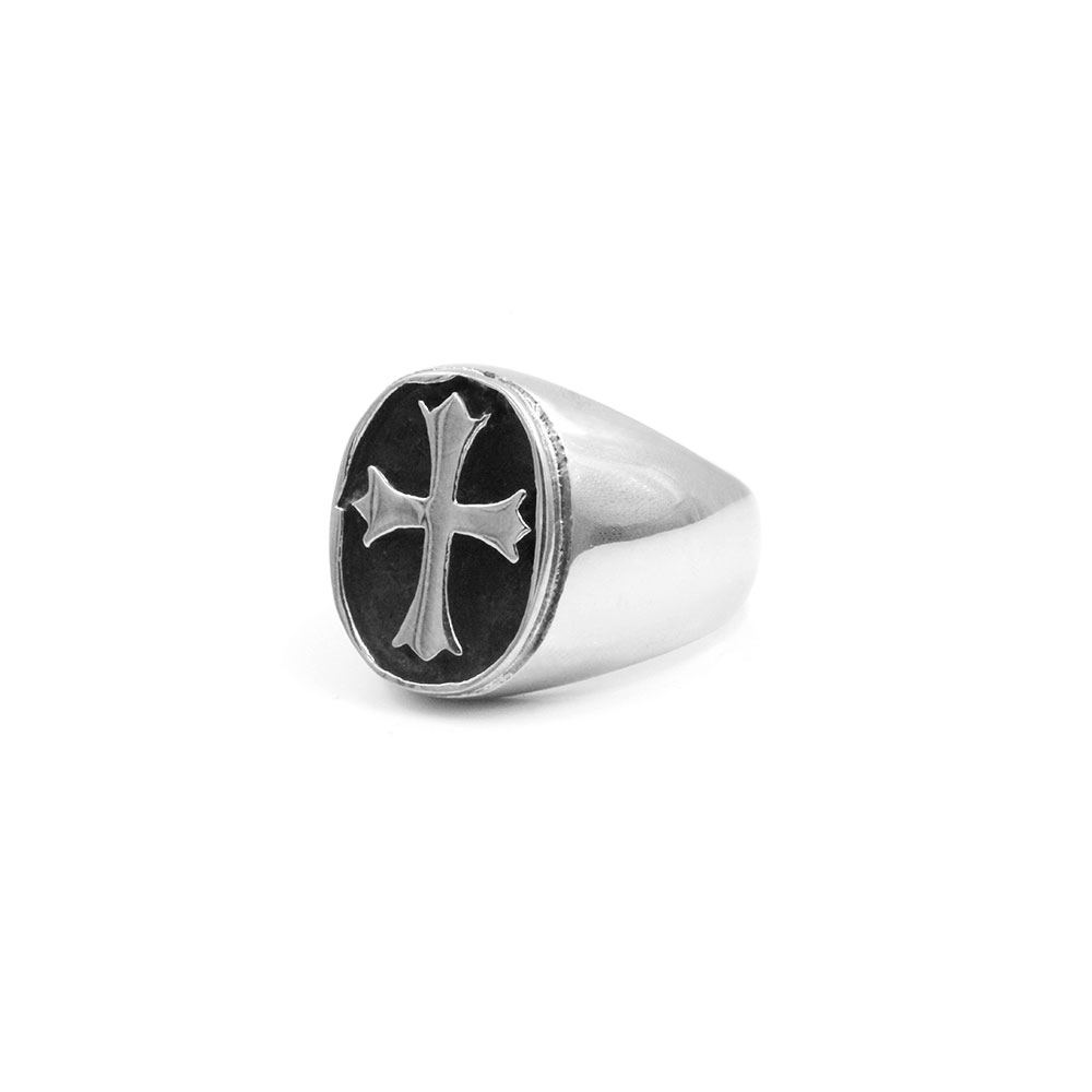 Steel Ring with Cross