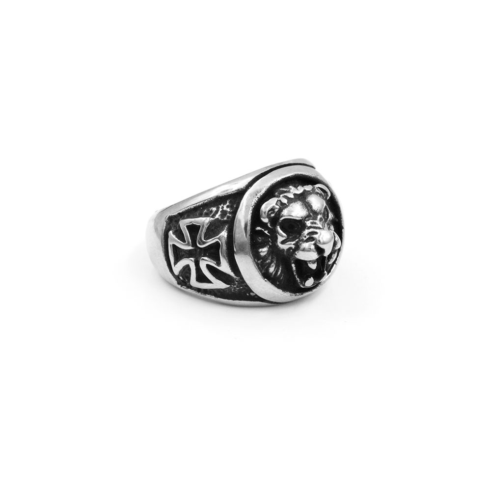 Steel Ring with Lion Head and Cross