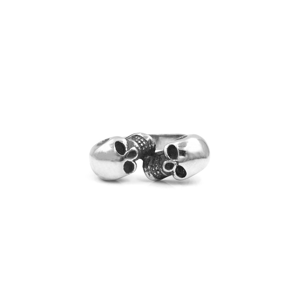Steel Ring with Double Skulls