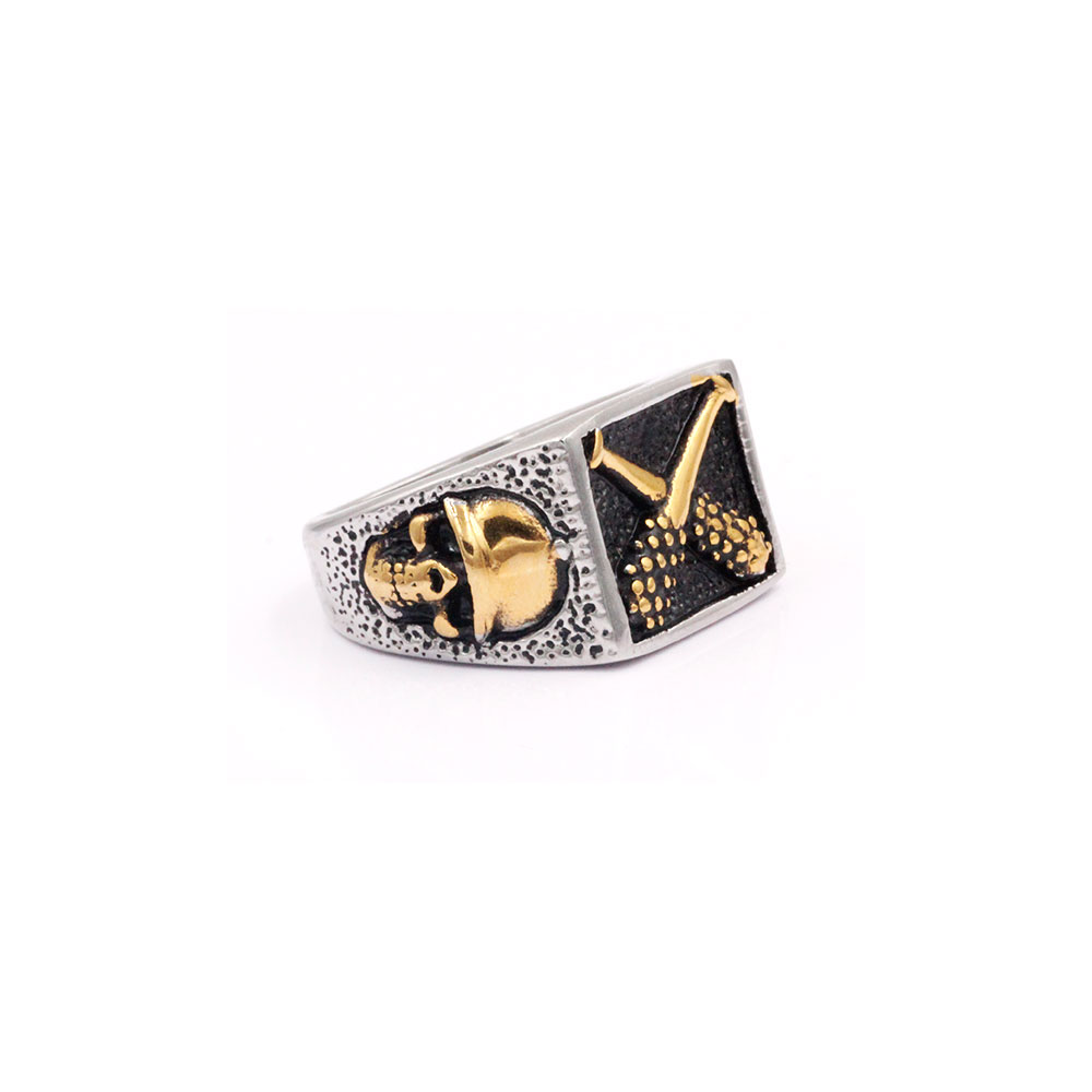 Square Ring with Cross Mace and Skull at Side