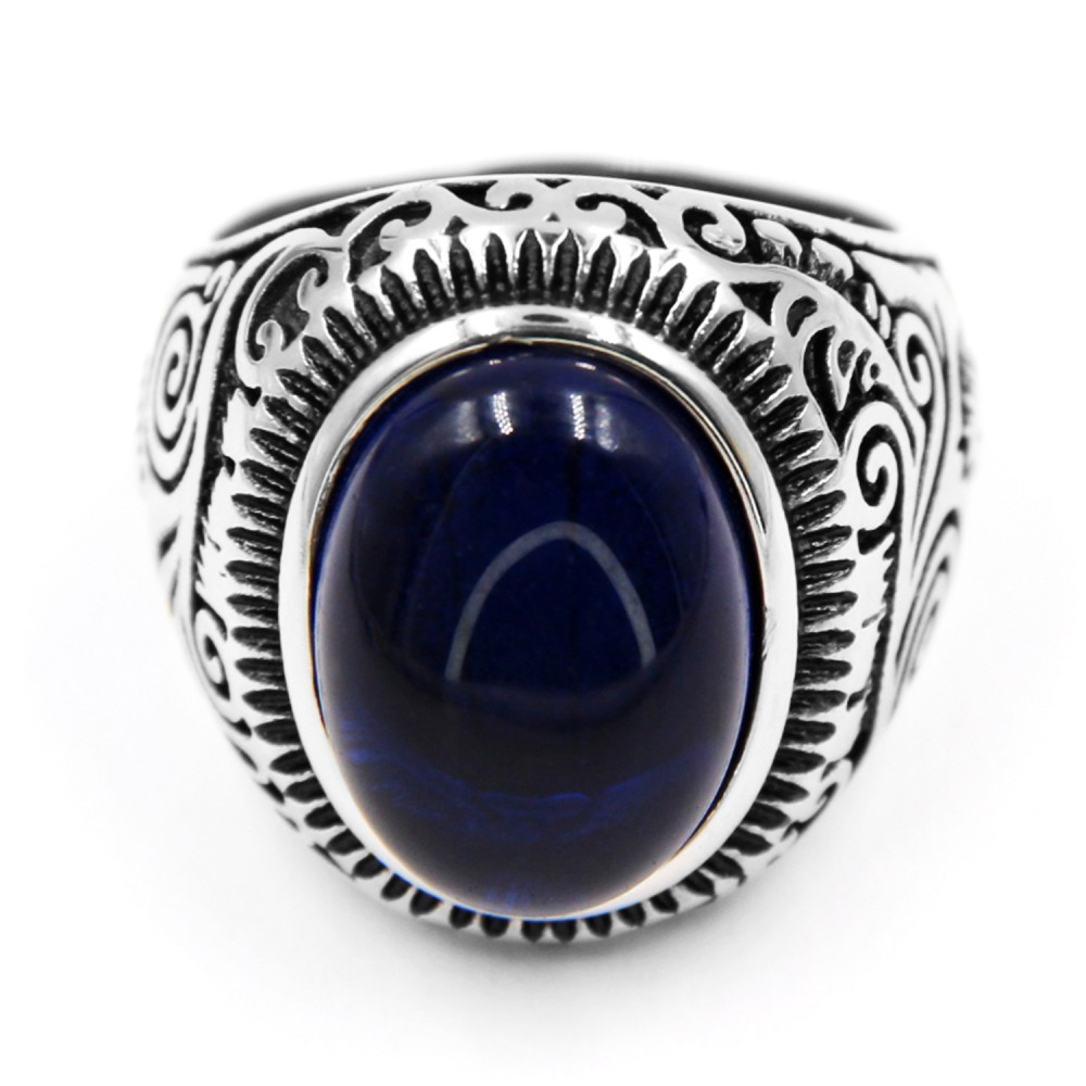 Steel Ring with Oval Blue Gem
