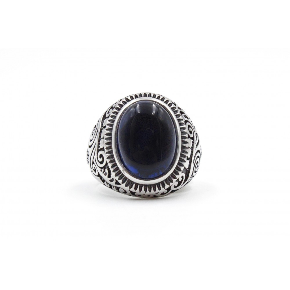 Steel Ring with oval blue stone