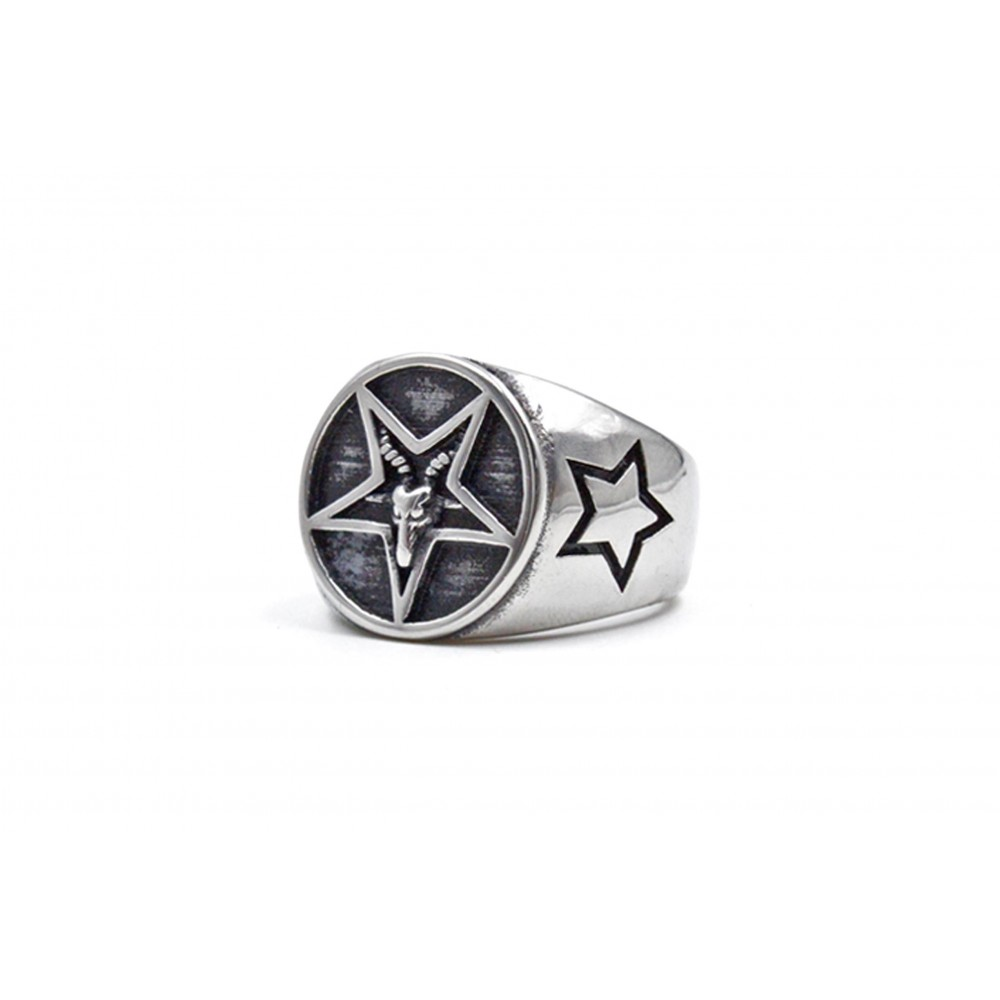Ring Five-Pointed Star with Cow Head