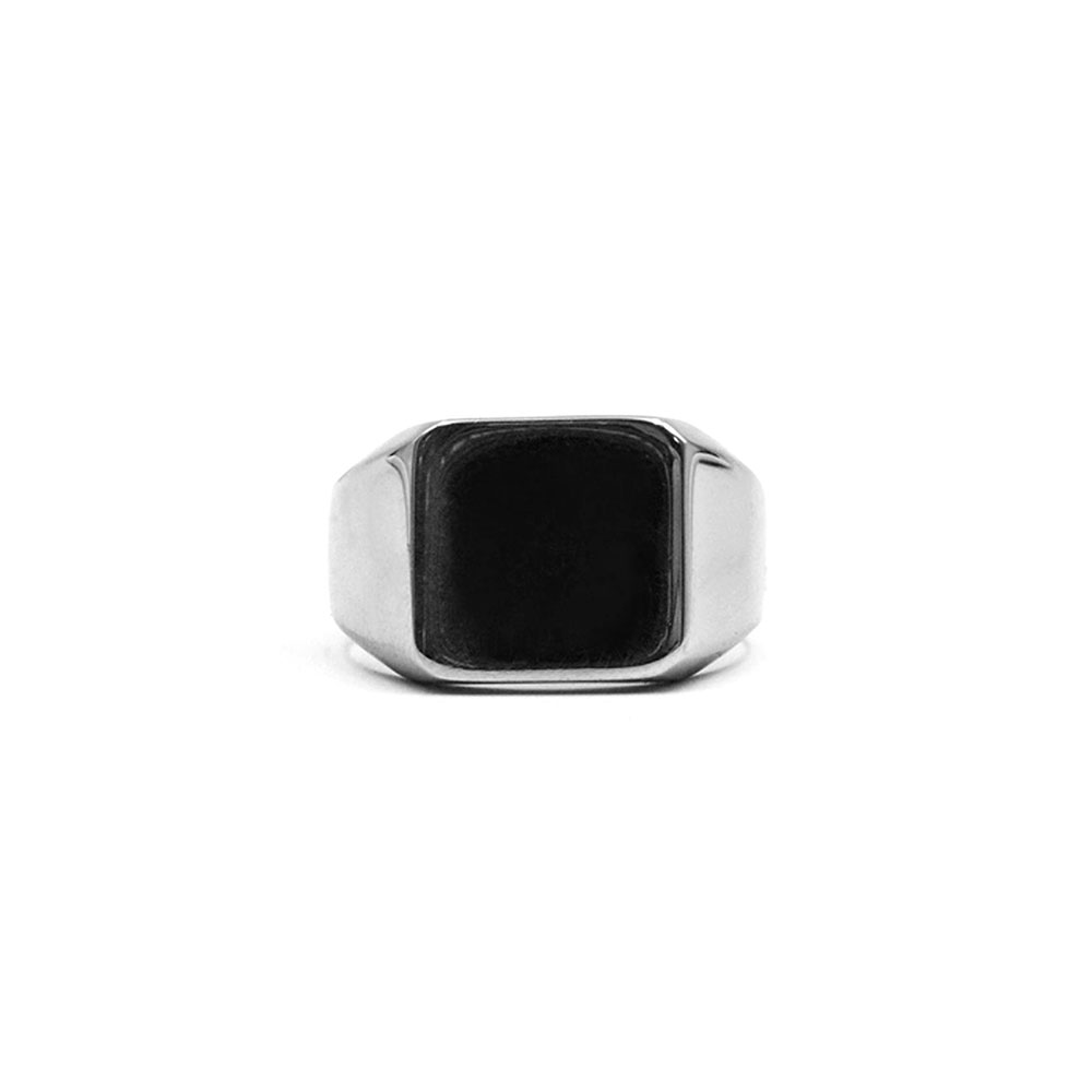 Simple Classic Style Ring Square White / Black