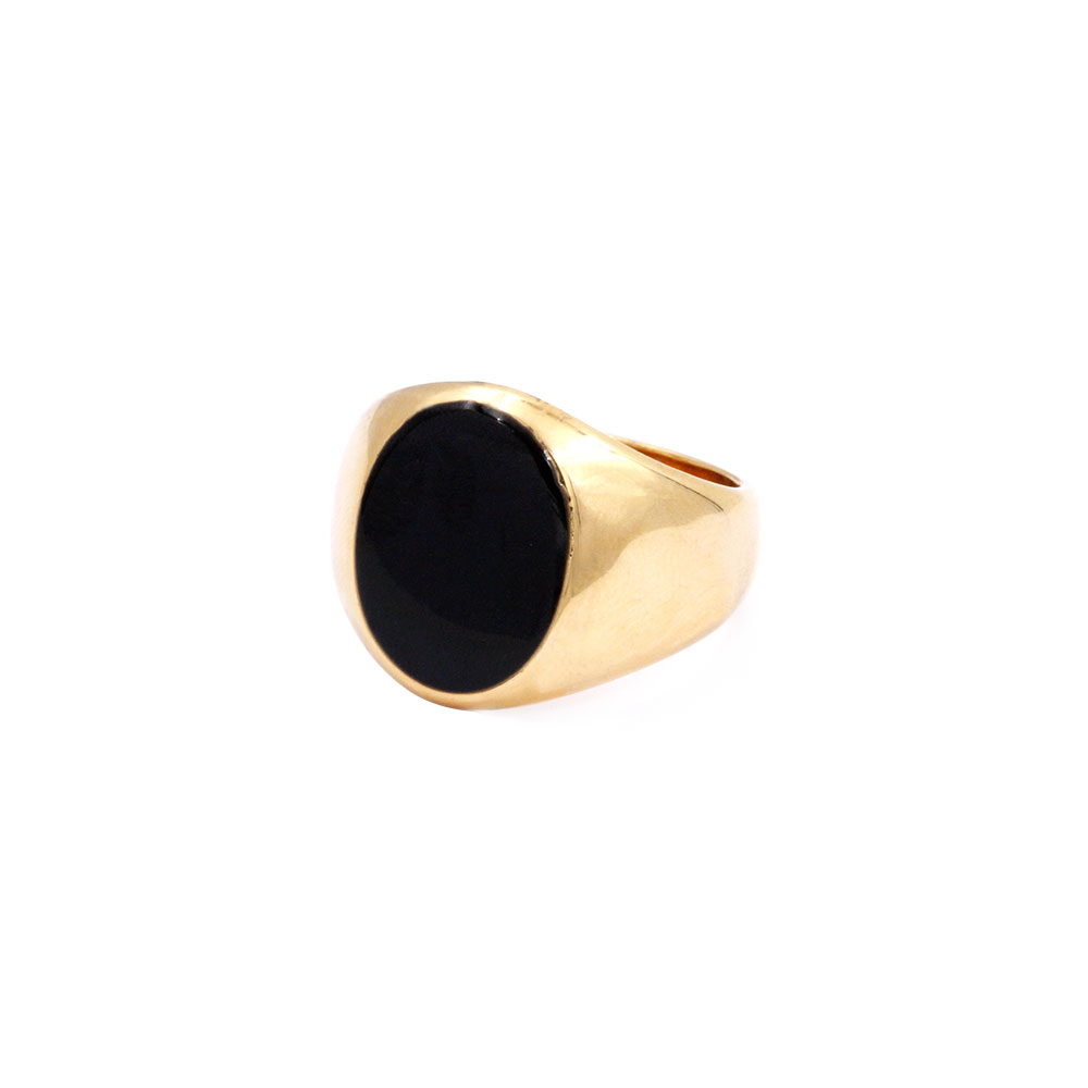 Gold Ring Cross with Black Stone