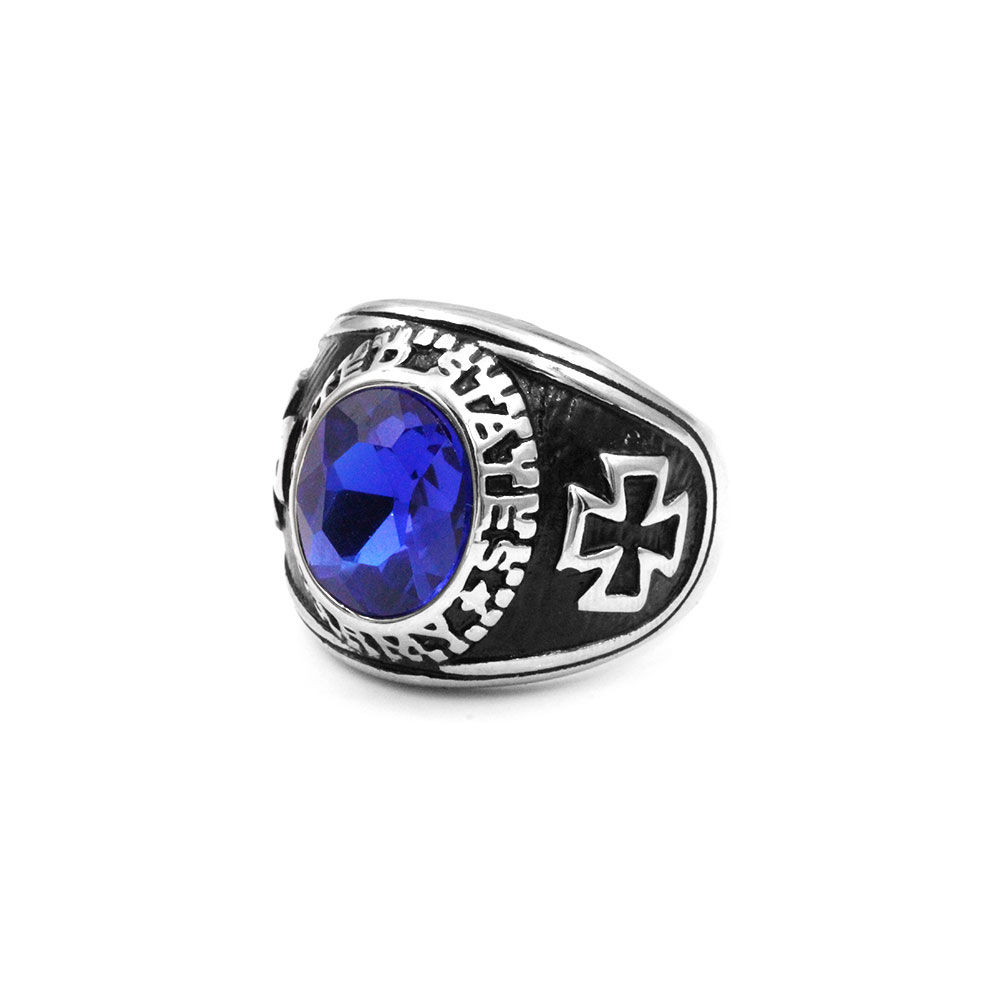 Blue Gem Ring with Cross