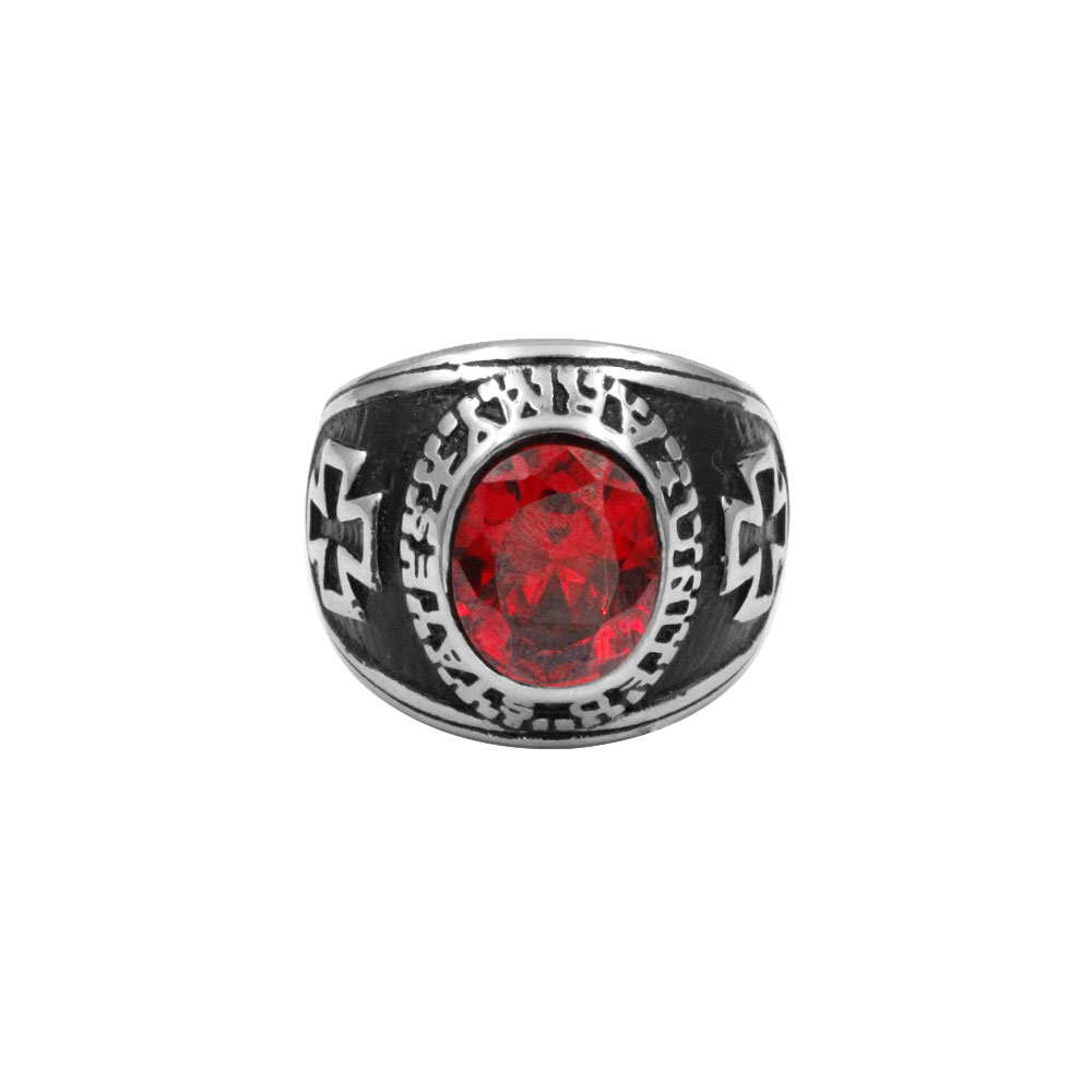 Red Gem Ring with Cross