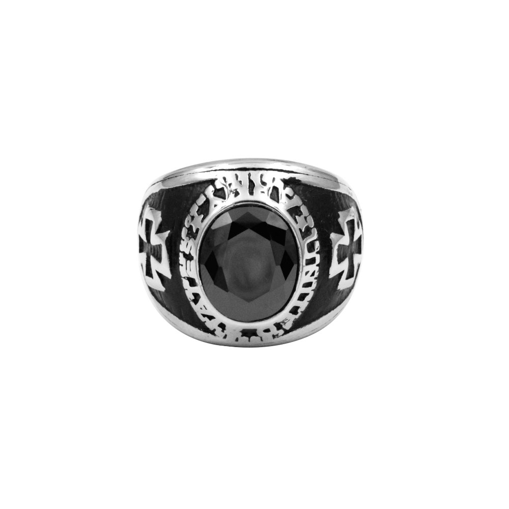 Ring cross with black gem