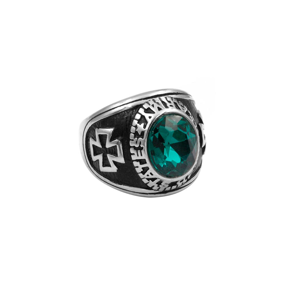 Ring Cross with Green Gem