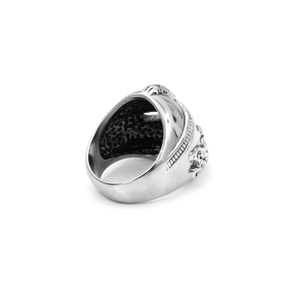 Greek Style Warrior Helmet Ring in Steel