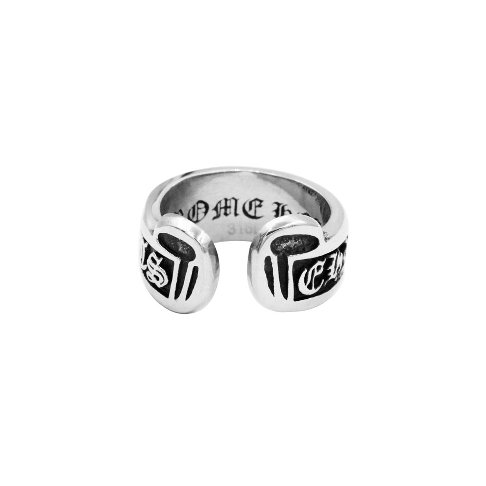 Open Ring with Gothic Letters