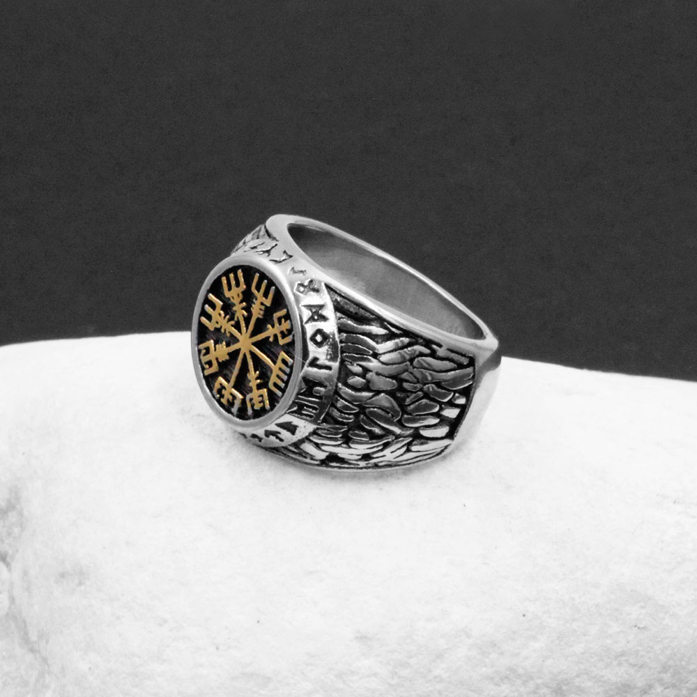 Ring Vegvisir Compass with Celtic Knot in Gold Steel