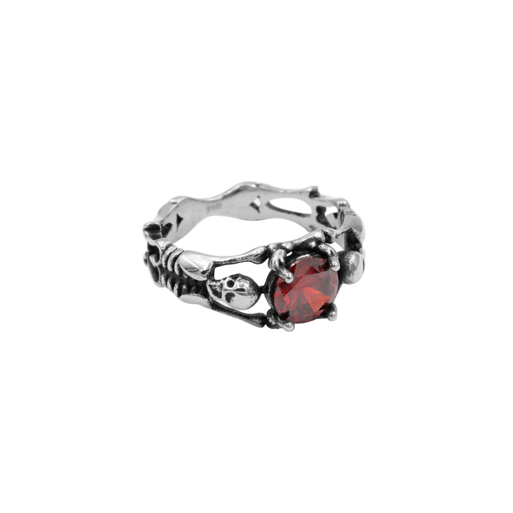 Skull Ring with Red Gem
