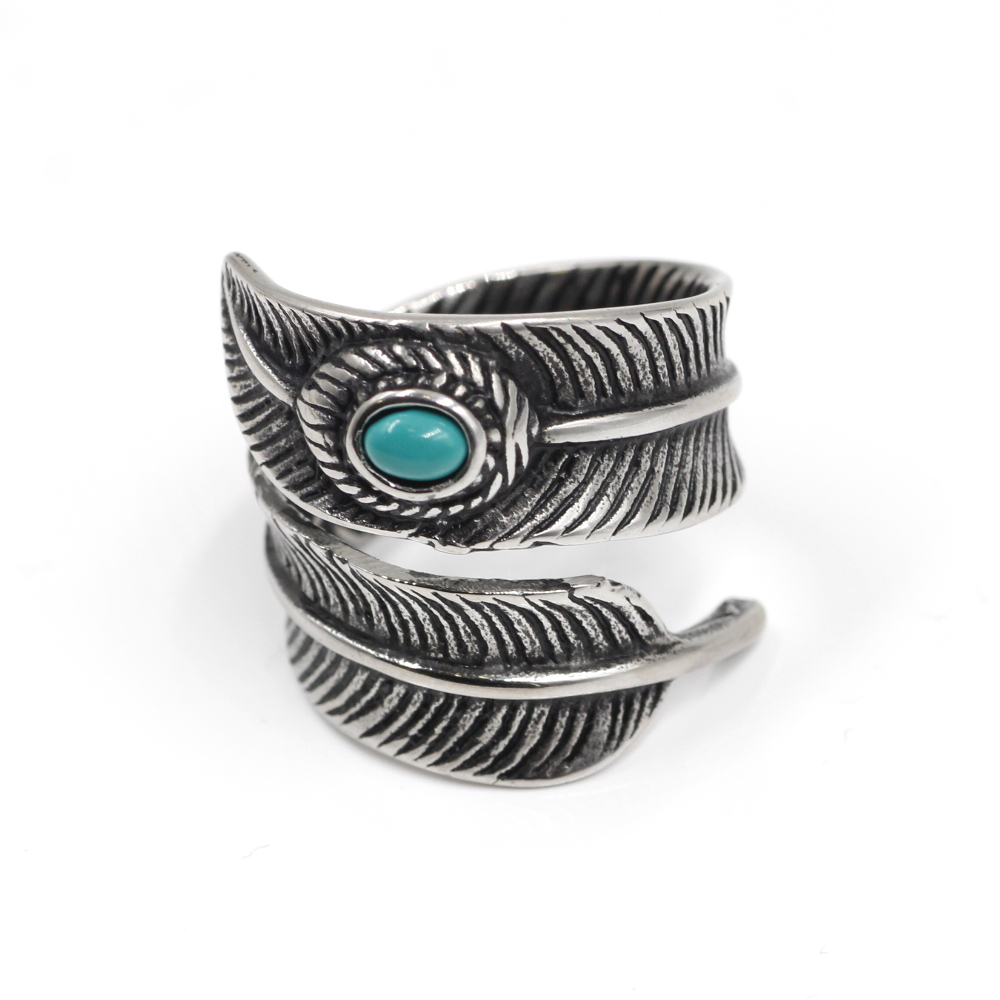 Ring Feather with Light Blue Gem