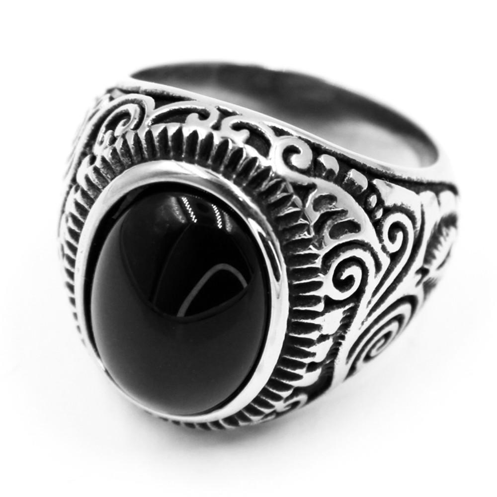Steel Ring with oval BlackGem