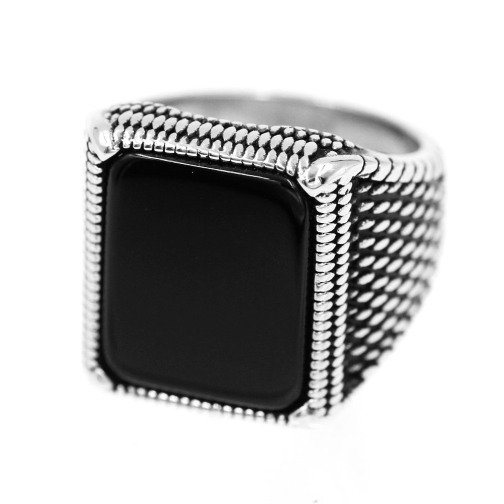 Steel Ring with Rectangle Black Gem