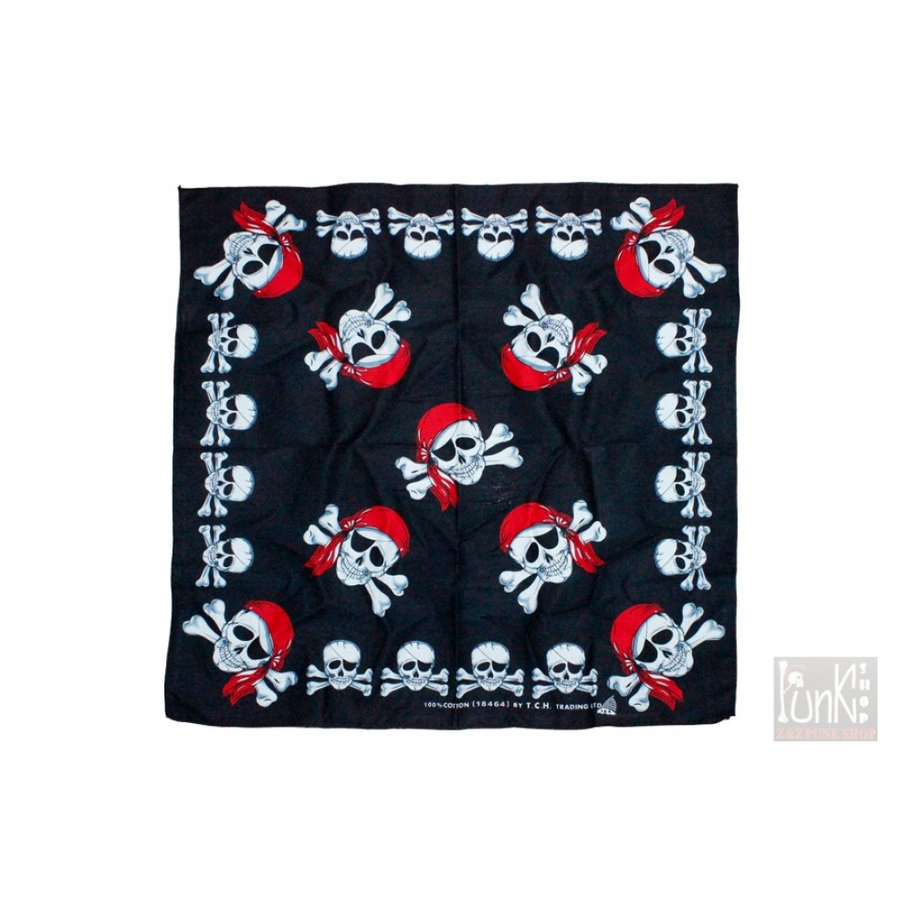 Square Bandana Skull and Crossbones