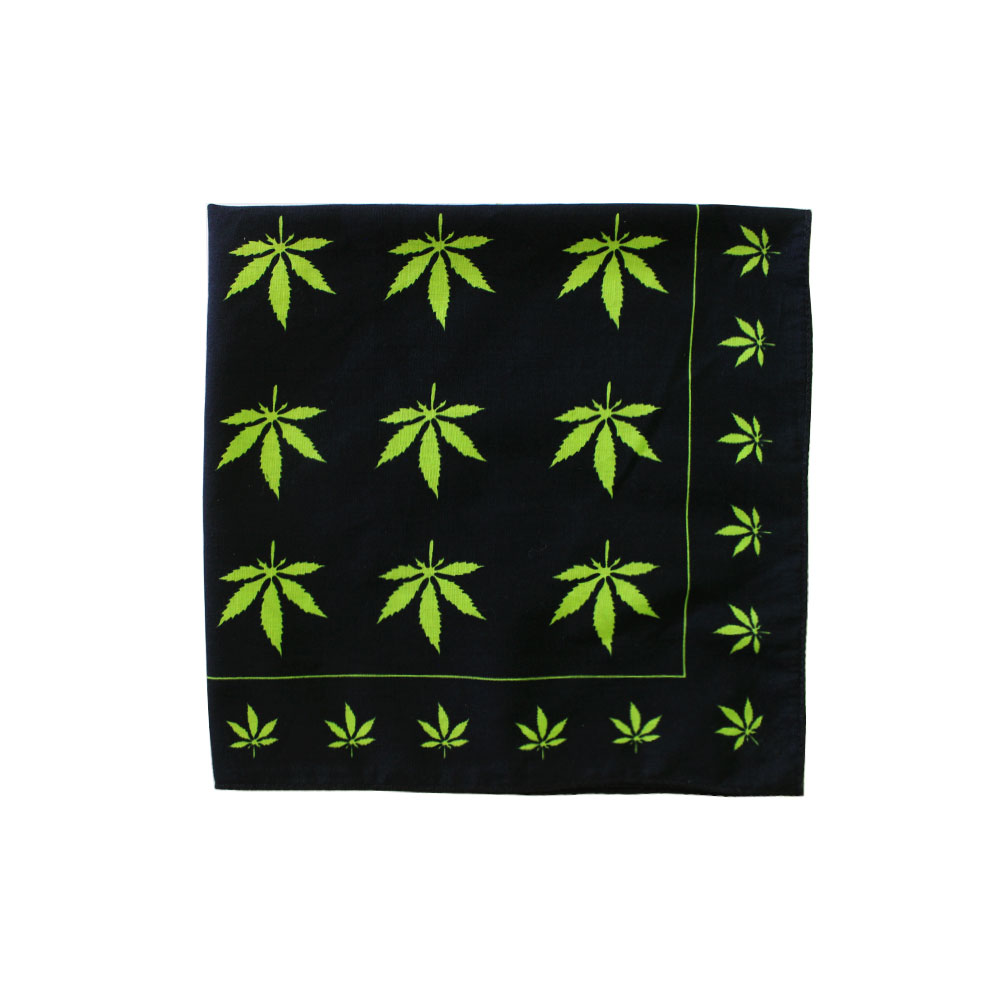 Square Bandana Maple Leaf Green