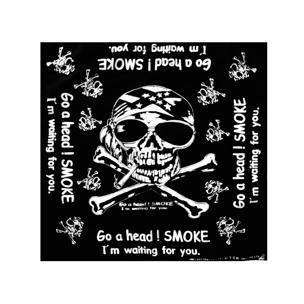 Square Bandana Skull and Wording Black