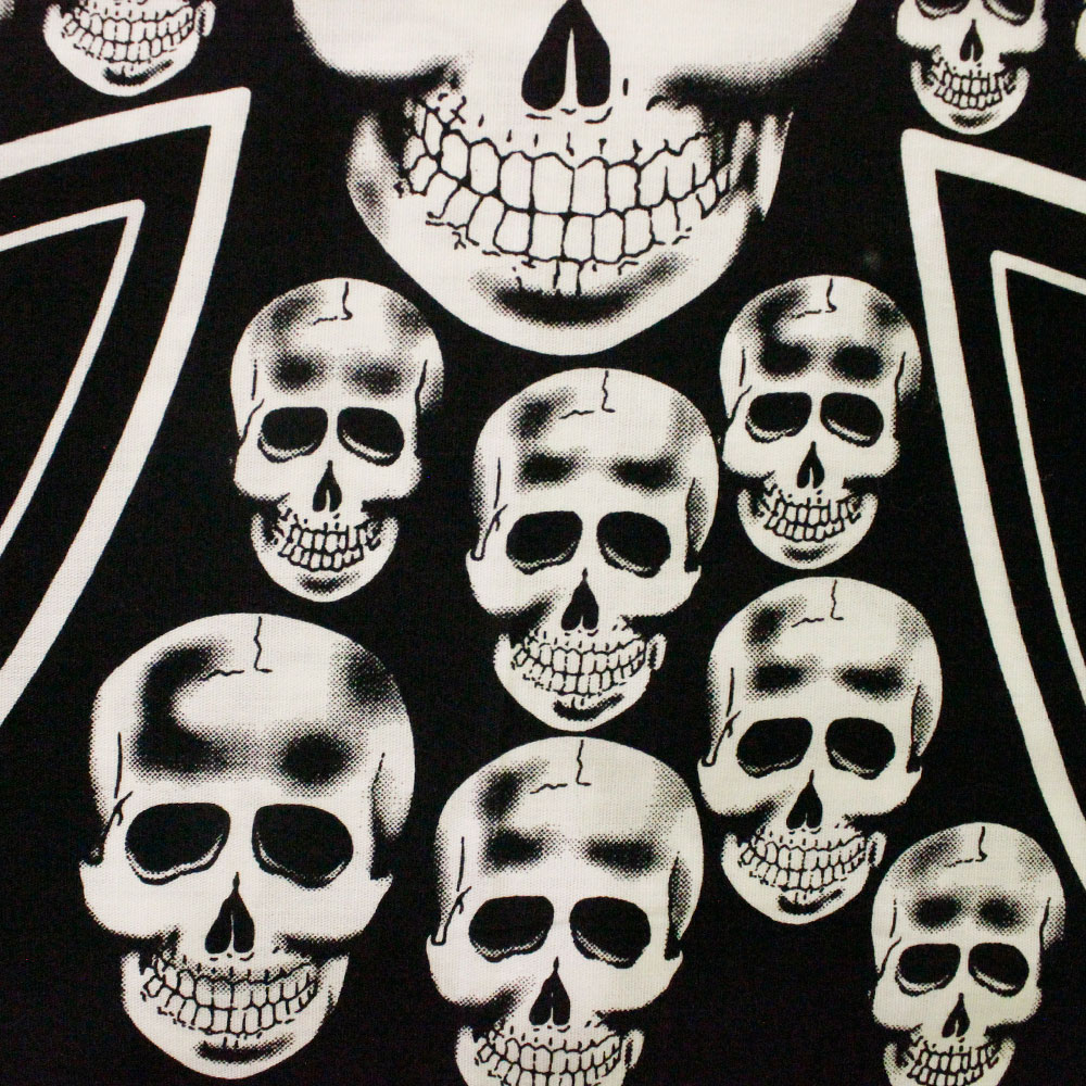 Square Bandana Skulls in Cross Emblem