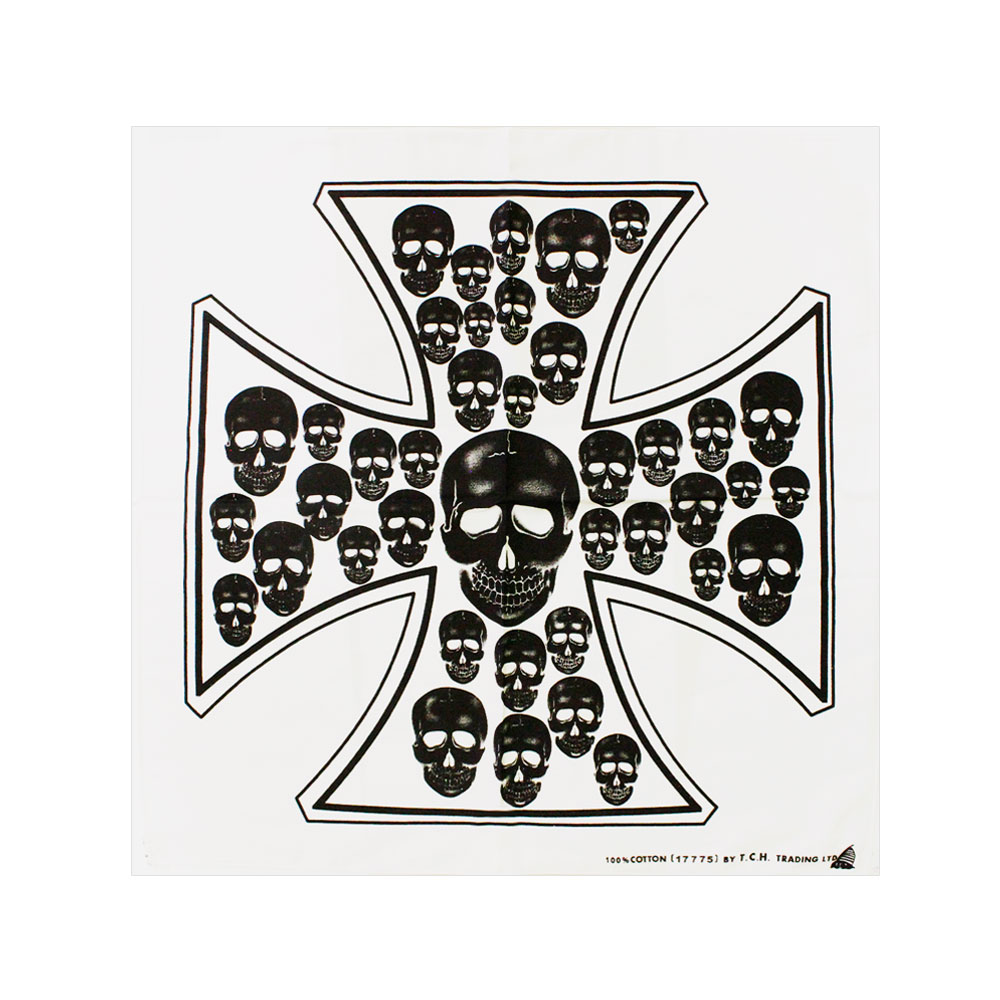 Square Bandana White with Cross of Skulls