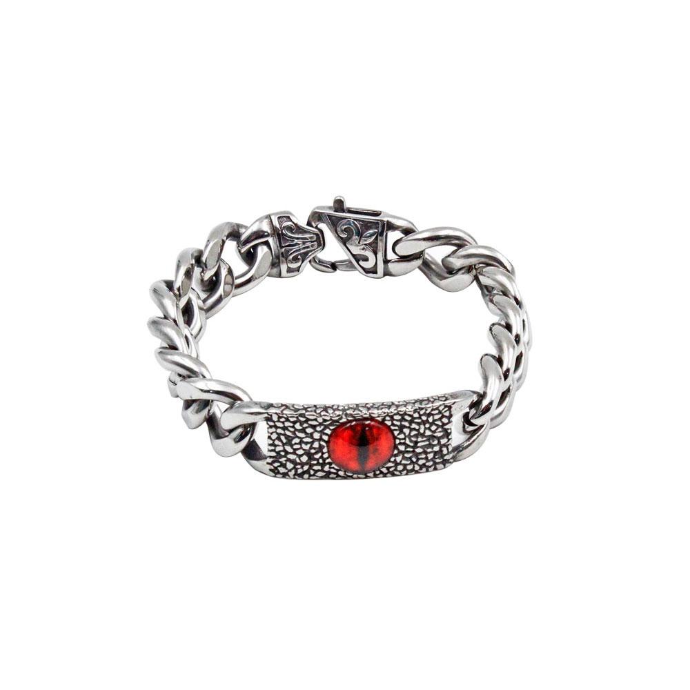 Steel Bracelet with Red Cat's Eye