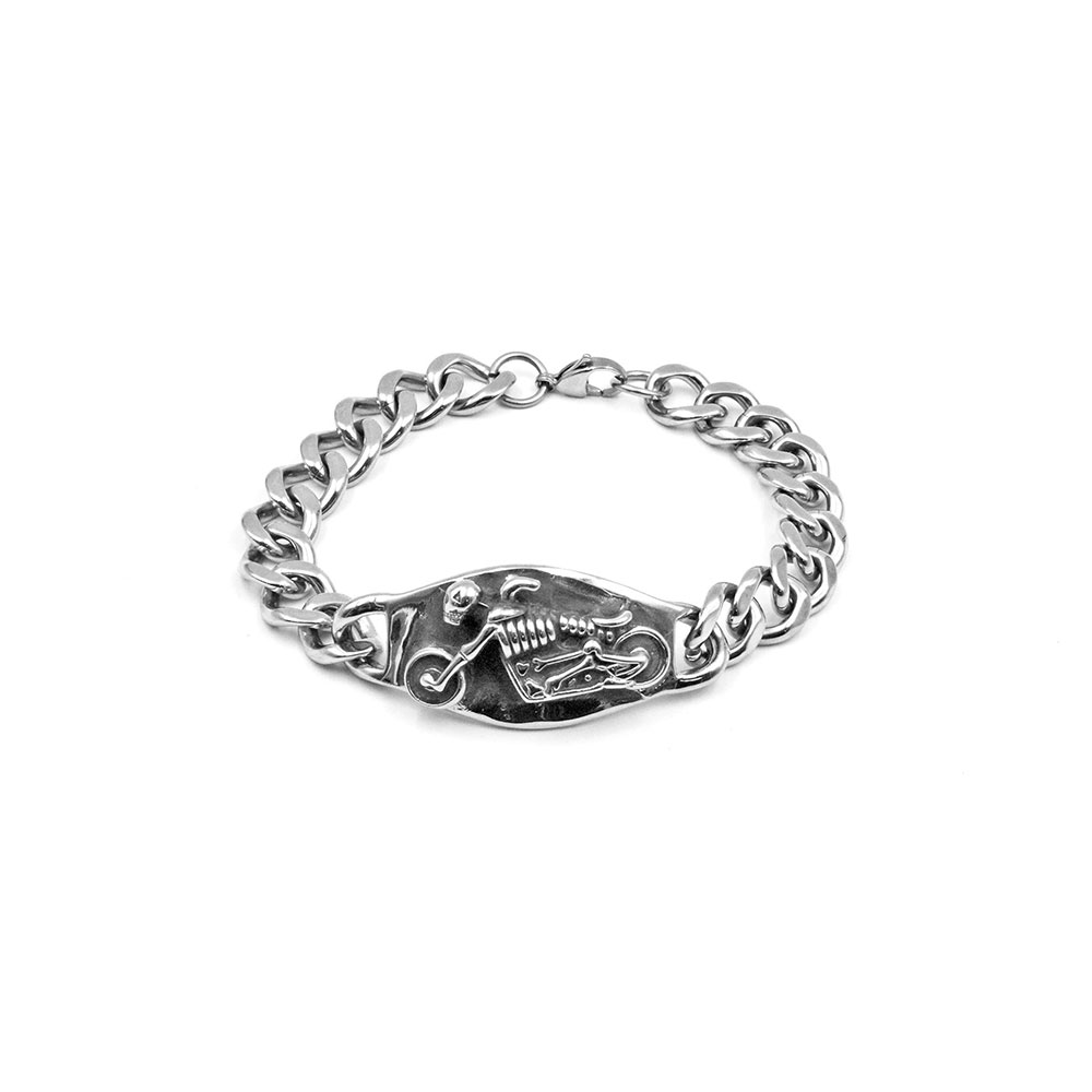 Steel Bracelet with Motorcycle