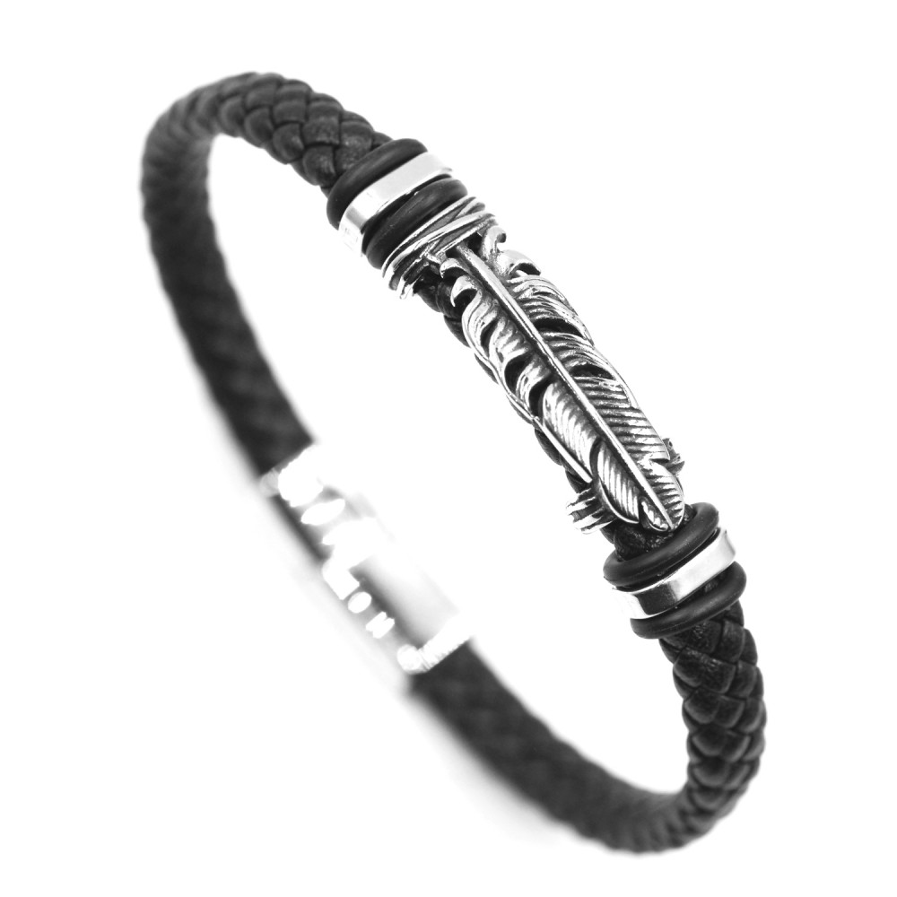 Man Bracelet  Feather in Leather and Steel