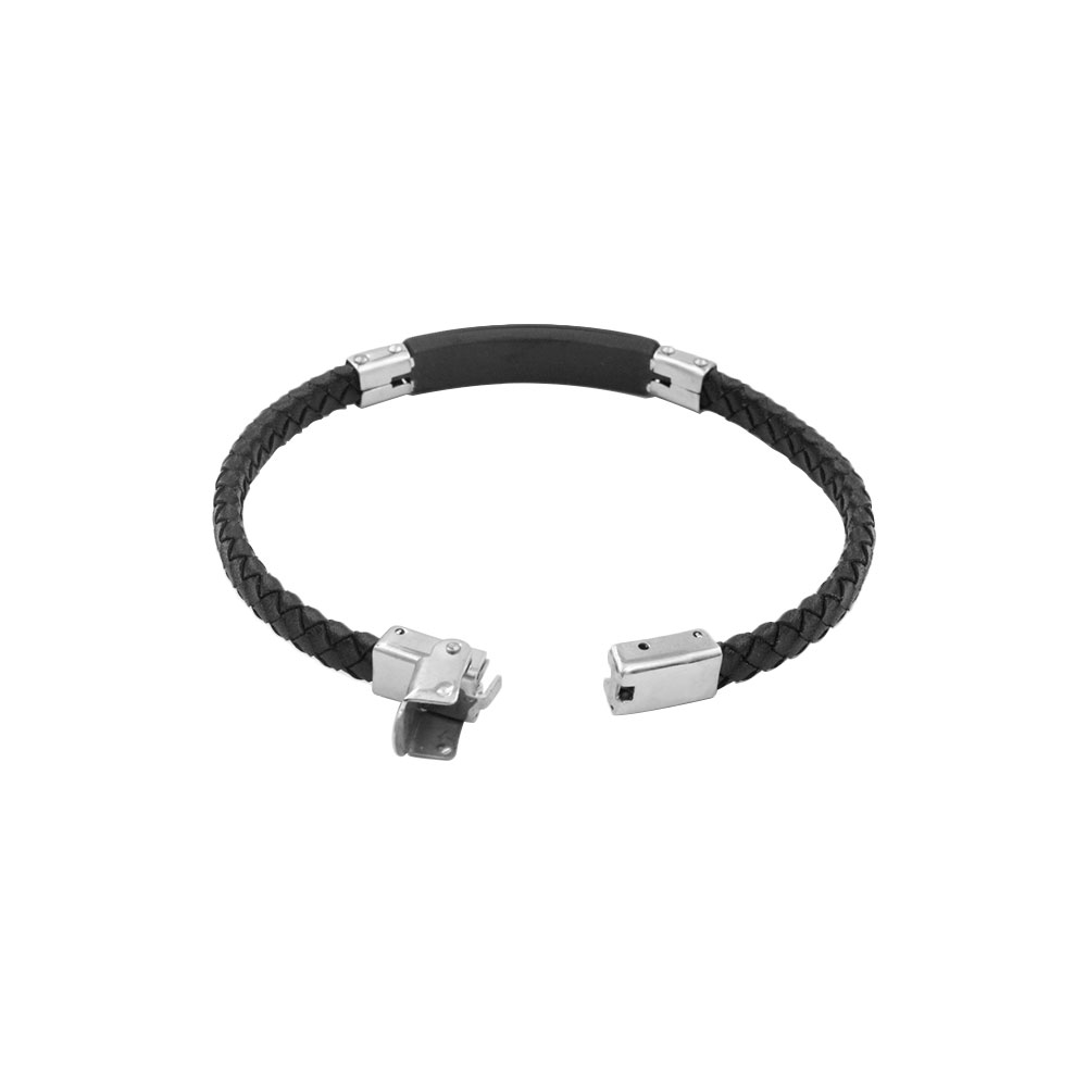 Fantasy Bracelet in Black Leather and Steel