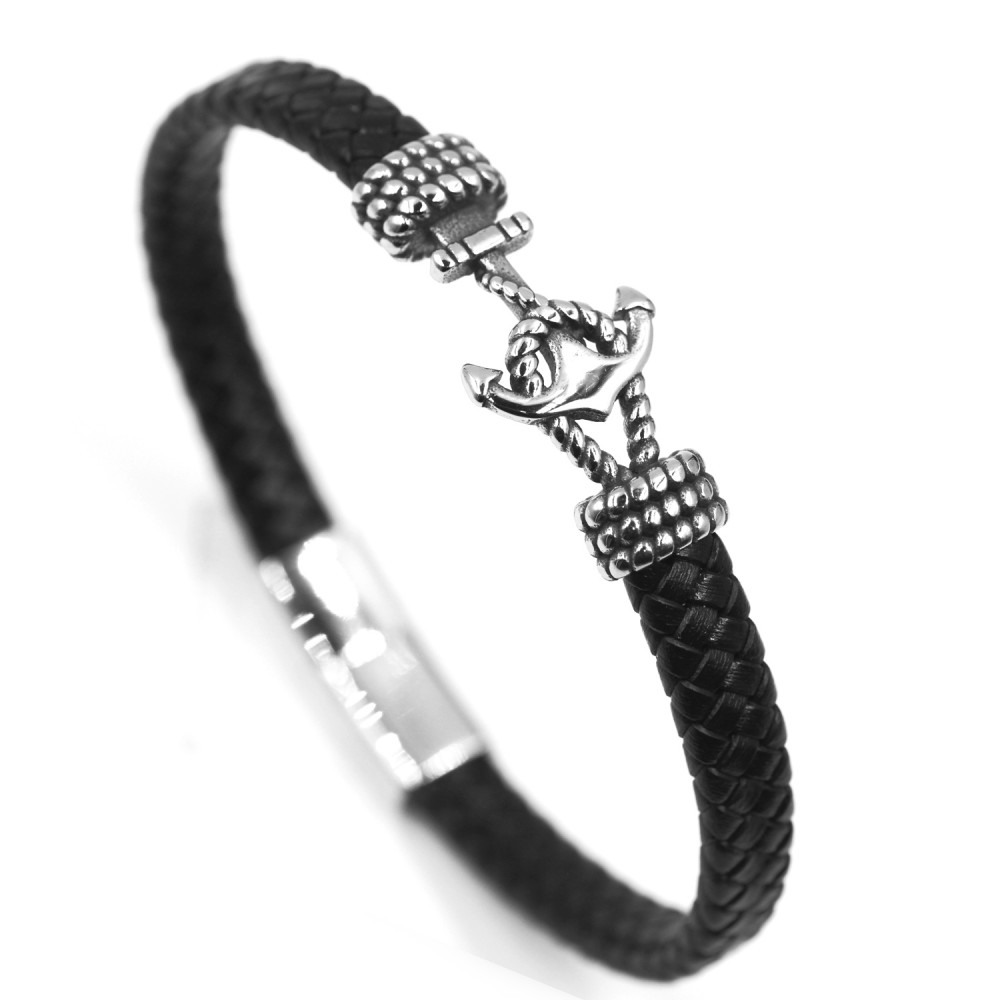 Man Bracelet Anchor in Leather and Steel