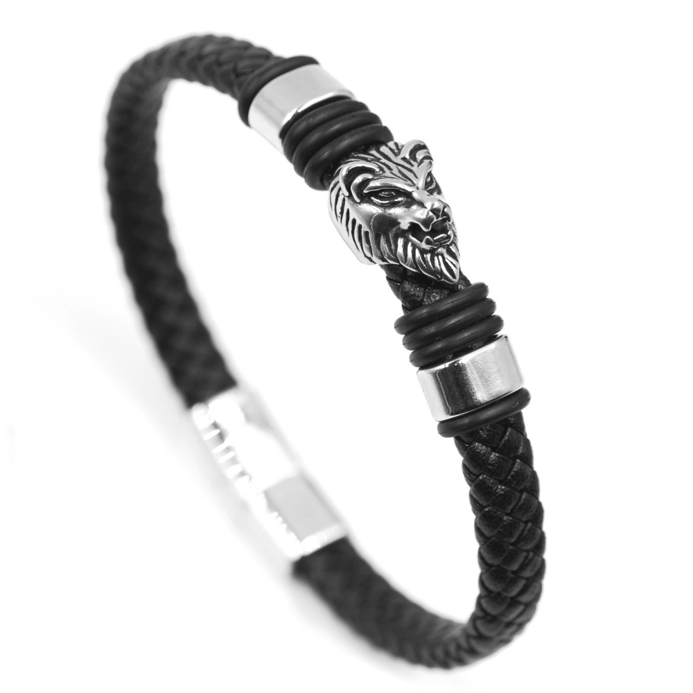Man Bracelet Lion in Leather and Steel