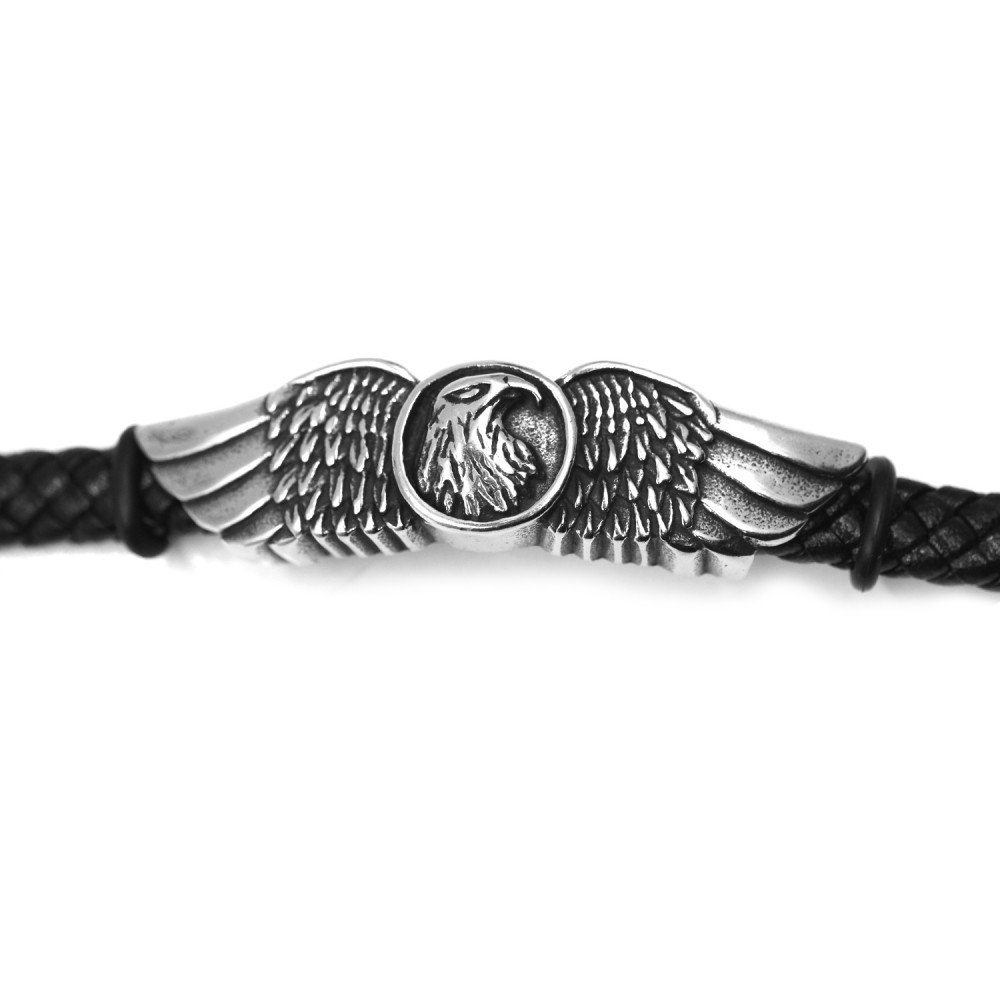 Man Bracelet Eagle in Leather and Steel