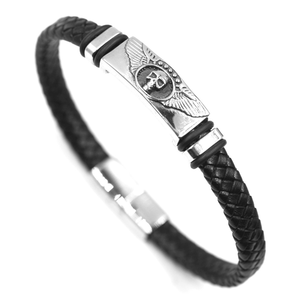 Man Bracelet Skull in Leather and Steel