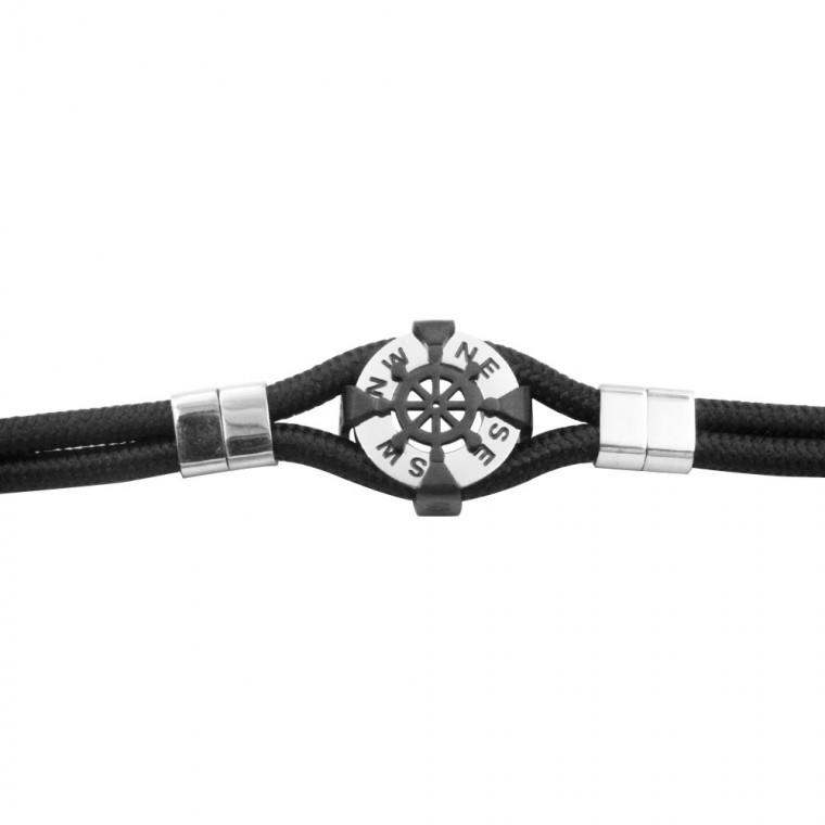 Bracelet with  Compass in Leather and Steel