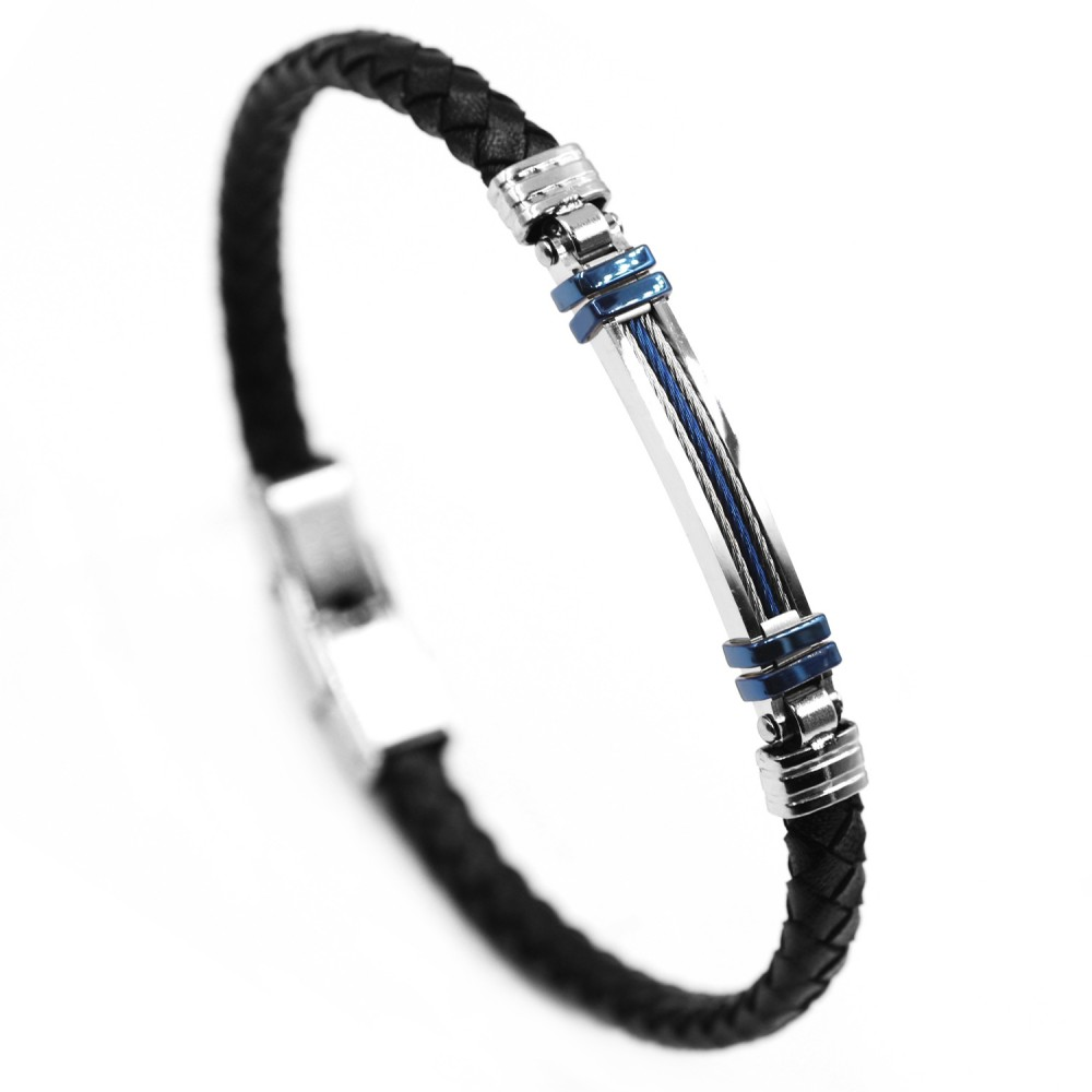 Man Bracelet in Leather and Steel