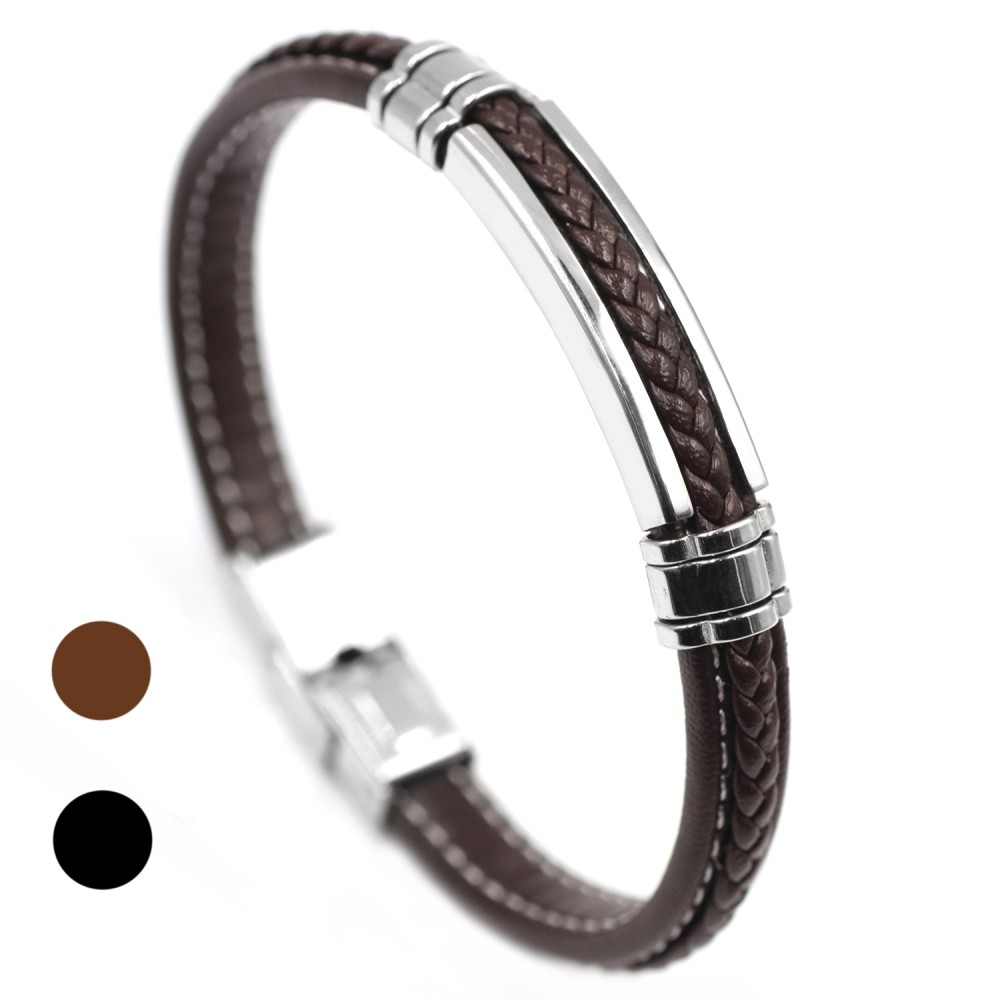 Classic Men's Bracelet in Leather and Steel