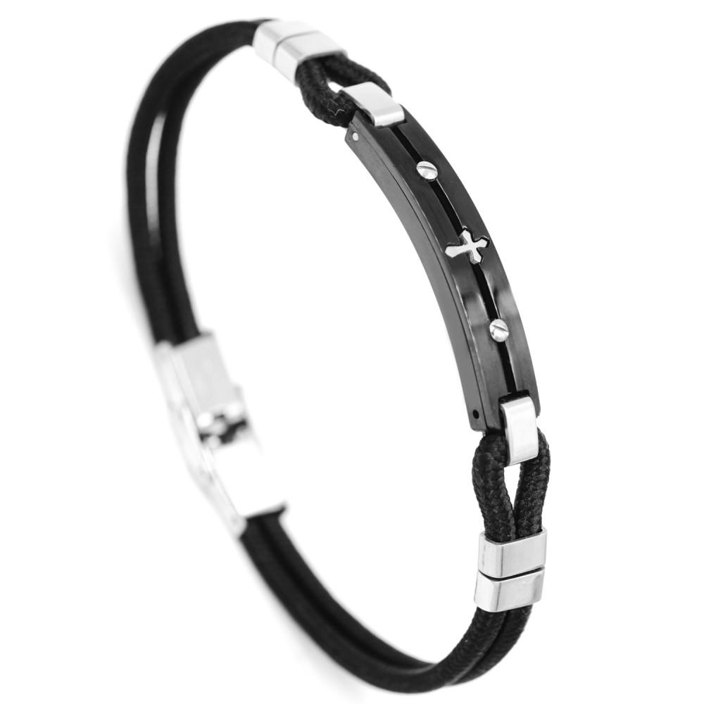 Man Bracelet Cross in Leather and Steel
