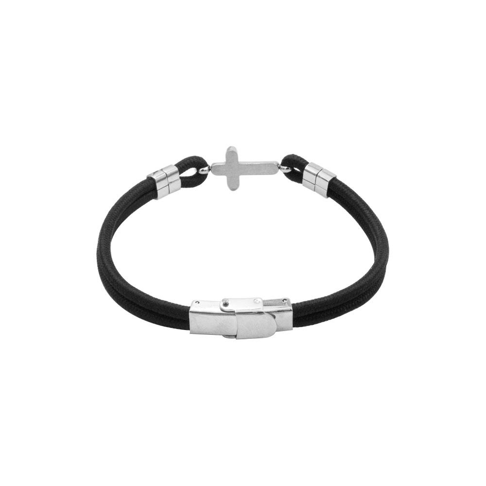 Crossing Bracelet in Rope and Steel