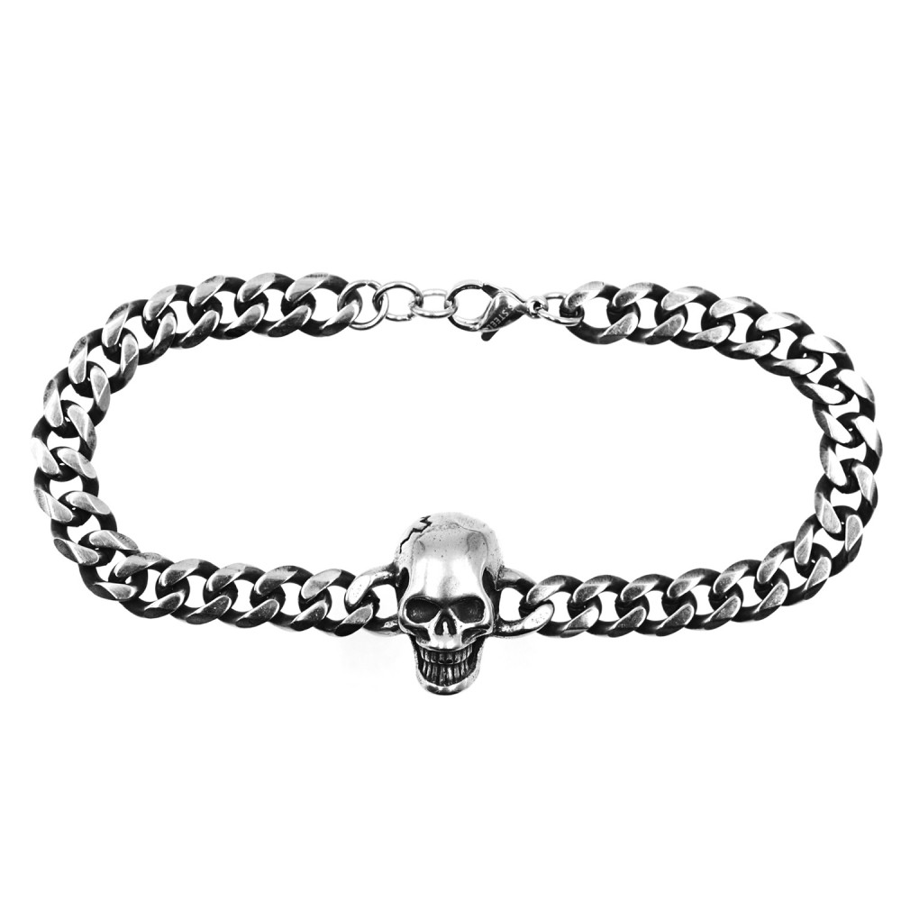 Bracelet  Skull Chain in Steel