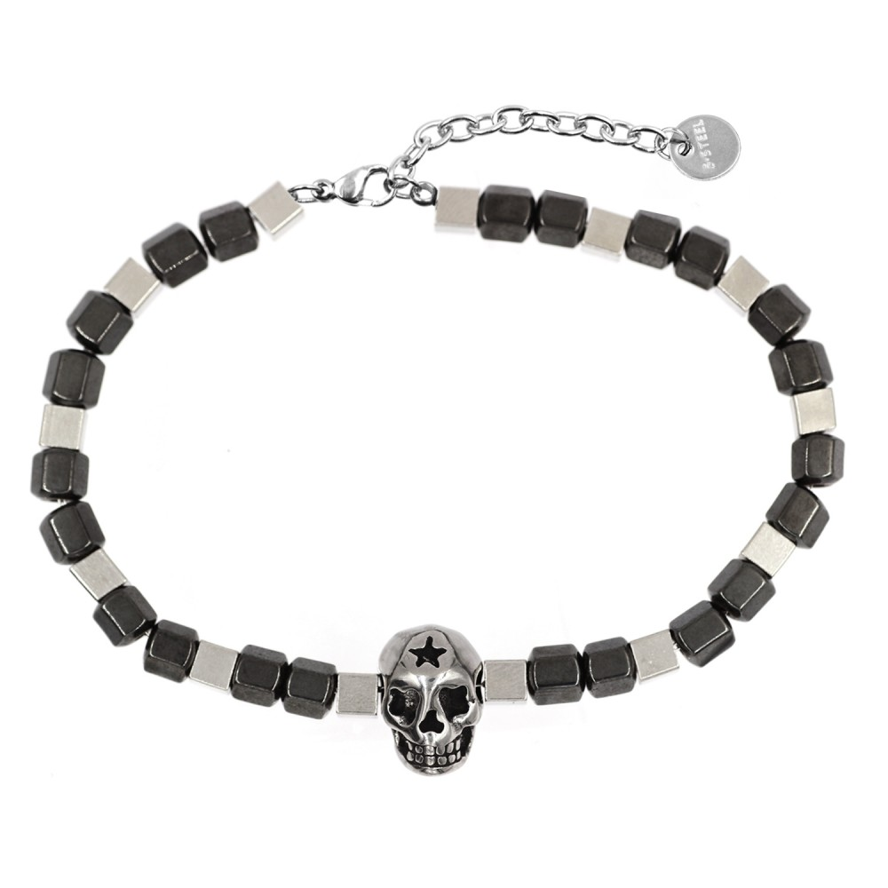 Man Bracelet in Hematite and Steel