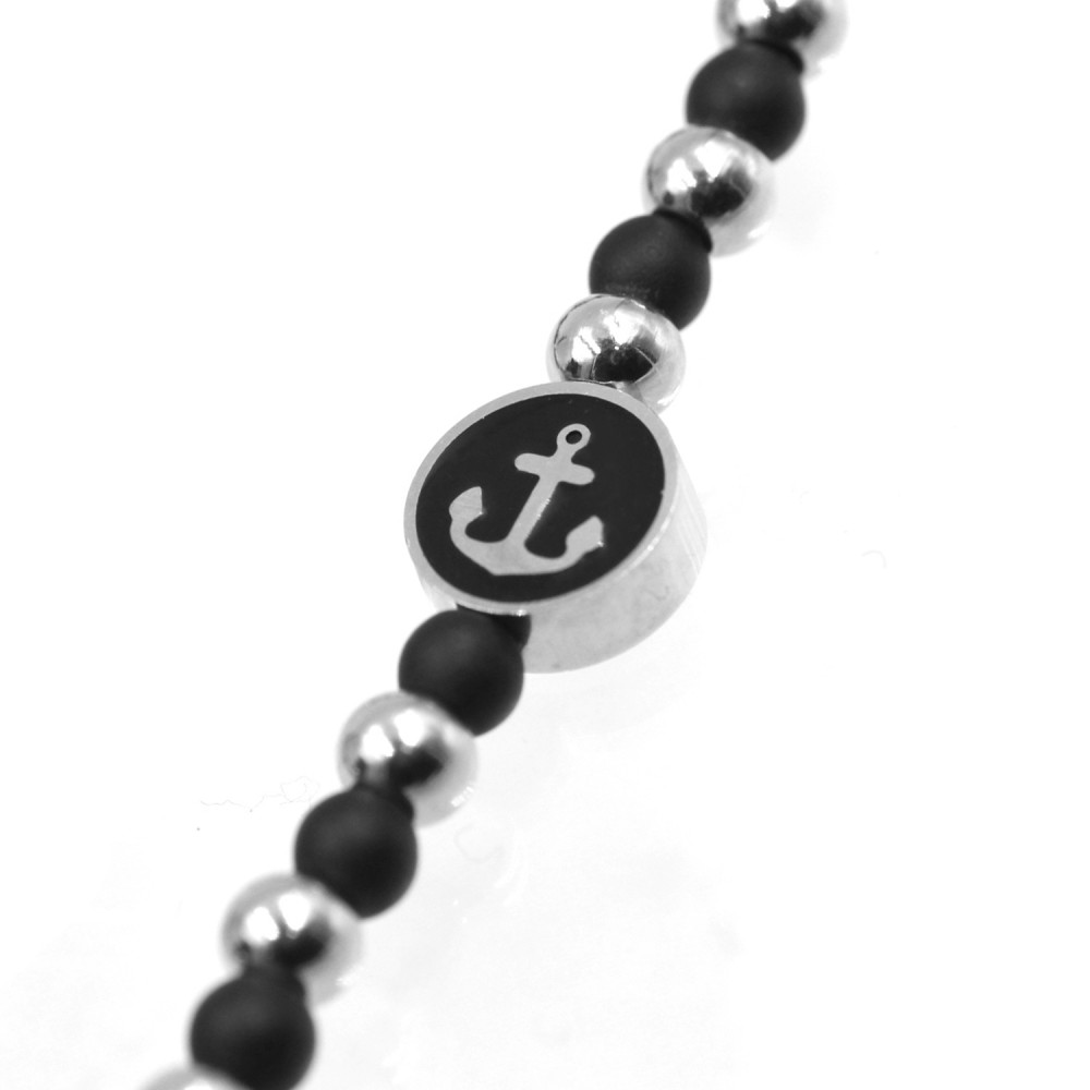 Man Bracelet in Black Onyx and Steel