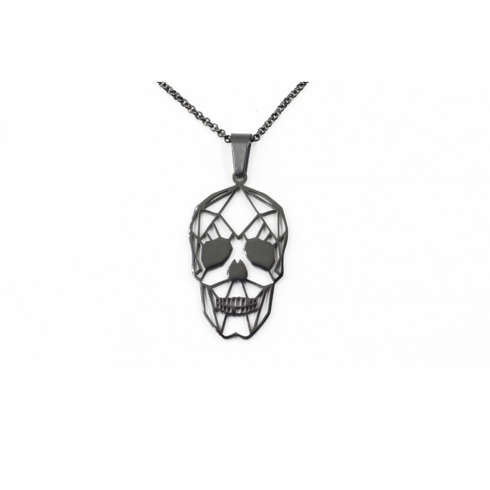 Skull Pendant Necklace in Stainless Steel with chain