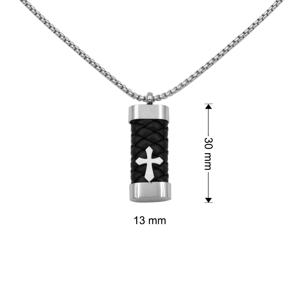 Necklace with Military Plate Pendant in leather with steel Cross