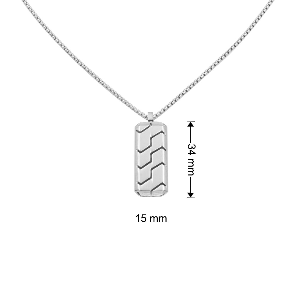 Necklace with pendant with black steel lines