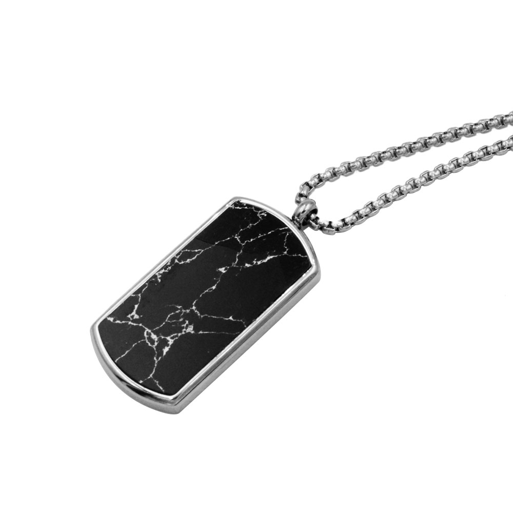 Necklace with military plate pendant, black plate in stainless steel
